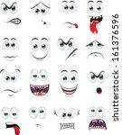cartoon faces with emotions  | Shutterstock .eps vector #161376596