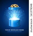 Open Gift Box And Magic Light...
