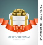gift box with bow and light.... | Shutterstock .eps vector #161378762