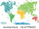 world travel line icons map.... | Shutterstock .eps vector #1613798602