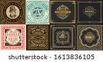 mega set of 8 vintage labels.... | Shutterstock .eps vector #1613836105