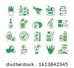 aloe color line icons set. care ...