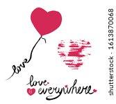 vector pink hearts with word ...   Shutterstock .eps vector #1613870068