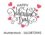 happy valentine's day lettering ... | Shutterstock .eps vector #1613872042