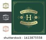 vintage monogram logo elegant...   Shutterstock .eps vector #1613875558