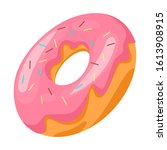 sweet tasty doughgnut with pink ... | Shutterstock .eps vector #1613908915