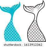 mermaid tail design  vector... | Shutterstock .eps vector #1613912362