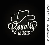 country music sign. cowboy hat... | Shutterstock .eps vector #1613915998