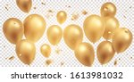 golden balloons with confetti ... | Shutterstock .eps vector #1613981032