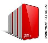 Shiny gloss red vector banner. Ring shape. eps 10 - stock vector