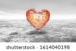 lonely heart on empty space.... | Shutterstock . vector #1614040198