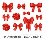 big set of decorative red silk... | Shutterstock .eps vector #1614058345