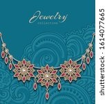 vintage gold jewelry necklace...   Shutterstock .eps vector #1614077665