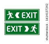 green emergency exit sign.... | Shutterstock .eps vector #1614137242