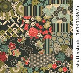 traditional japanese fabrics...   Shutterstock .eps vector #1614153625