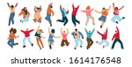 group of happy people jumping... | Shutterstock .eps vector #1614176548