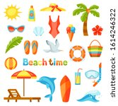 set of summer and beach objects....   Shutterstock .eps vector #1614246322