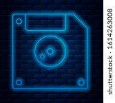 Glowing Neon Line Floppy Disk...