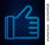 glowing neon line hand like... | Shutterstock .eps vector #1614264028