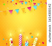 colorful sparkling candles and... | Shutterstock .eps vector #1614300142
