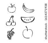fruit hand drawn vector... | Shutterstock .eps vector #1614371938