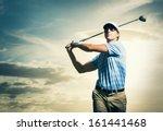 golfer at sunset  man swinging...   Shutterstock . vector #161441468
