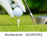 close up view of golf ball on... | Shutterstock . vector #161441552