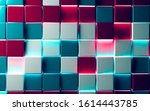 abstract red and blue blocks or ... | Shutterstock . vector #1614443785