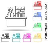 cashier in store multi color...