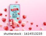 valentine's day sale 50  off... | Shutterstock .eps vector #1614513235