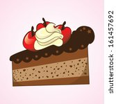 slice of cake with cherries... | Shutterstock .eps vector #161457692