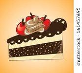 slice of cake over orange... | Shutterstock .eps vector #161457695