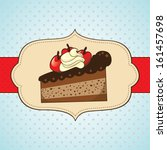 slice of cake with cherries for ... | Shutterstock .eps vector #161457698