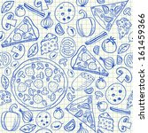 illustration of pizza doodles ... | Shutterstock .eps vector #161459366
