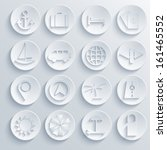 vector travel icons set on blue ...