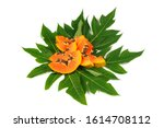 fresh sliced papaya fruit with...   Shutterstock . vector #1614708112
