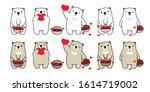 bear vector heart valentine... | Shutterstock .eps vector #1614719002