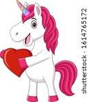 cute baby unicorn holding heart | Shutterstock .eps vector #1614765172