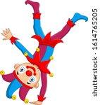cartoon jester standing upside... | Shutterstock .eps vector #1614765205