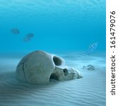 Skull On Sandy Ocean Bottom...