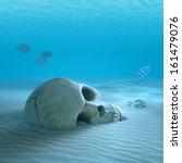 Skull On Sandy Ocean Bottom...