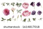 roses and lisianthus. flowers... | Shutterstock . vector #1614817018