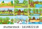 background scenes of animals in ... | Shutterstock .eps vector #1614822118