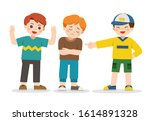 boy student getting bullied in... | Shutterstock .eps vector #1614891328