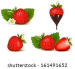 set of ripe sweet strawberry... | Shutterstock . vector #161491652