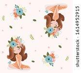 romantic girl with flowers...   Shutterstock .eps vector #1614952915