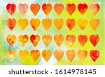 Pattern Of Small Red Hearts On...
