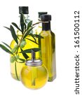 bottle of olive oil with raw... | Shutterstock . vector #161500112