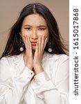 Small photo of Beautiful charming woman studio fashion luxury cosmetics charm