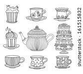 Set cups, cakes, cake stand and kettle isolated on a white background - vector